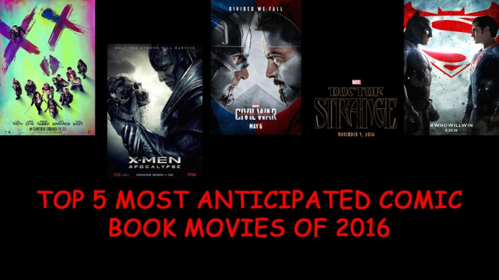 TOP 5 MOST ANTICIPATED COMIC BOOK MOVIES OF 2016